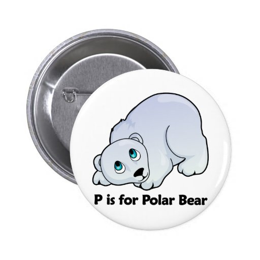 P is for Polar Bear 2 Inch Round Button