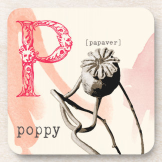 P is for poppy drink coaster