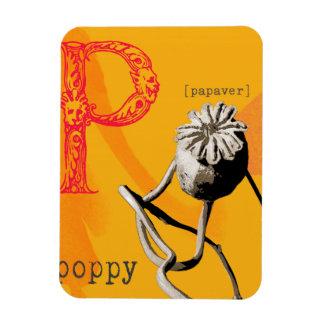 P is for poppy rectangular photo magnet