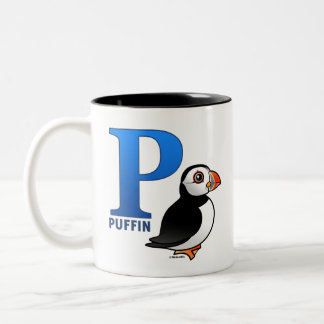 P is for Puffin Two-Tone Coffee Mug