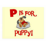 P is for Puppy Tshirts and Gifts Postcard
