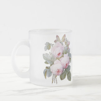 P.J. Redoute Bourbon Rose Bouquet Frosted Glass Coffee Mug