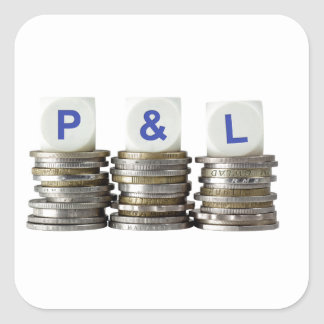 P&L - De ganancias y pérdidas Pegatina Cuadrada