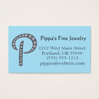 P Monogram bling business card