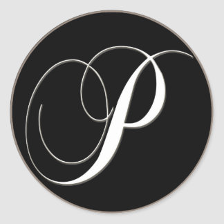 P monogram - elegant black and white classic round sticker