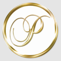 P Monogram Faux Gold Envelope Or Favor Seal