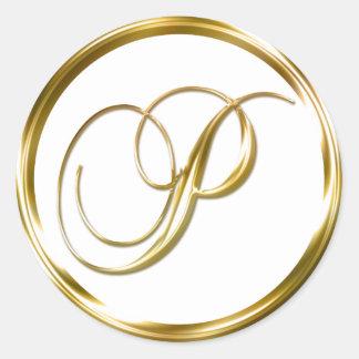 P Monogram Faux Gold Envelope Or Favor Seal Classic Round Sticker