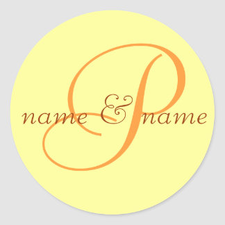 """""""P"""" monogram label, personalize first names Classic Round Sticker"""
