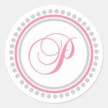 P Monogram (Pink / Silver Dot Circle) Classic Round Sticker