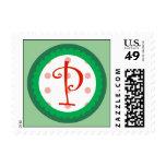 P Monogram Postage Stamp (Whimsical Christmas)