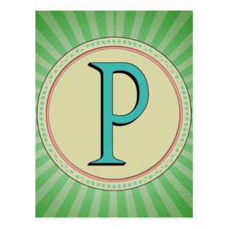 P MONOGRAM POSTCARD