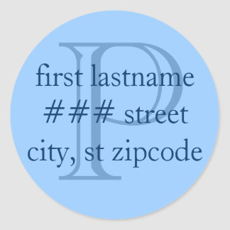 """P"" monogram return address labels - personalize Classic Round Sticker"