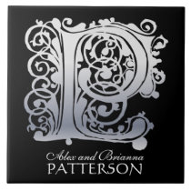 """P Monogram """"Silver Lace on Black"""" with Names Tile"""