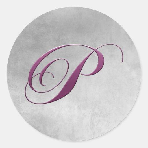 P Monogram Sticker Purple and Grunge