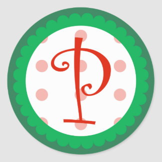 P Monogram Whimsical Christmas Stickers