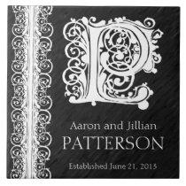 "P Monogram ""White Lace on Black"" Wedding  Tile"