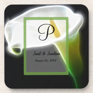 P Monogram with an Abstract Floral Coaster