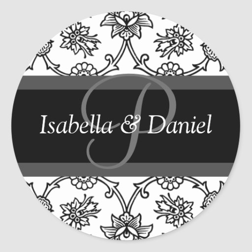 P Monograms For Wedding Invitation Seals Round Sticker