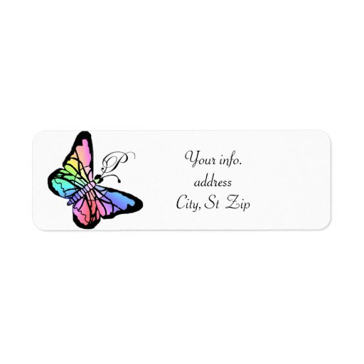 P~My Spring Butterfly Initial Custom Return Address Labels