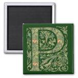P Ornate Floral Leafy Monogram Fridge Magnet
