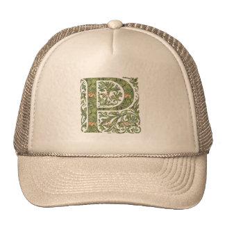 P Ornate Floral Leafy Monogram Trucker Hats