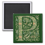 P Ornate Floral Leafy Monogram 2 Inch Square Magnet
