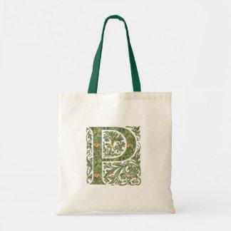 P Ornate Floral Leafy Monogram Tote Bag