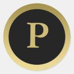 P:: Oro elegante del monograma P y pegatinas Pegatina Redonda