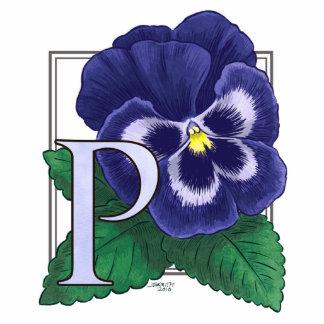P para el monograma de la flor del pensamiento fotoescultura vertical