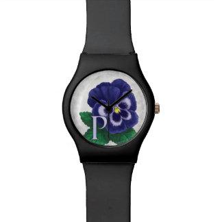P para el monograma floral del alfabeto del relojes