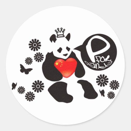 P para la panda etiqueta redonda
