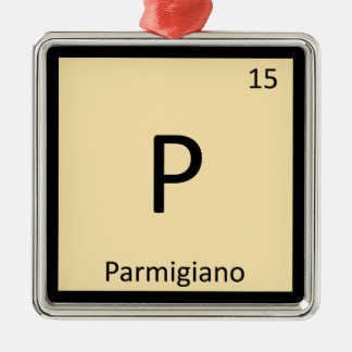 P - Parmigiano Cheese Chemistry Periodic Table Square Metal Christmas Ornament