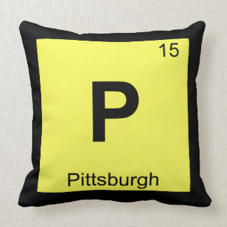 P - Pittsburgh Pennsylvania Chemistry Symbol Throw Pillow
