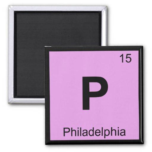 P - Química de Philadelphia Pennsylvania periódica Imán Cuadrado