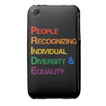 P-R-I-D-E: PEOPLE RECOGNIZING INDIVIDUAL DIVERSITY iPhone 3 COVER