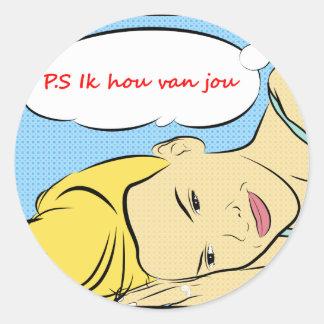 P.S Ik hou van jou Classic Round Sticker