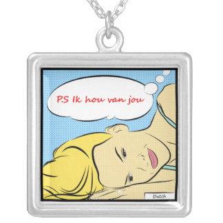 P.S Ik hou van jou in Dutch Square Pendant Necklace