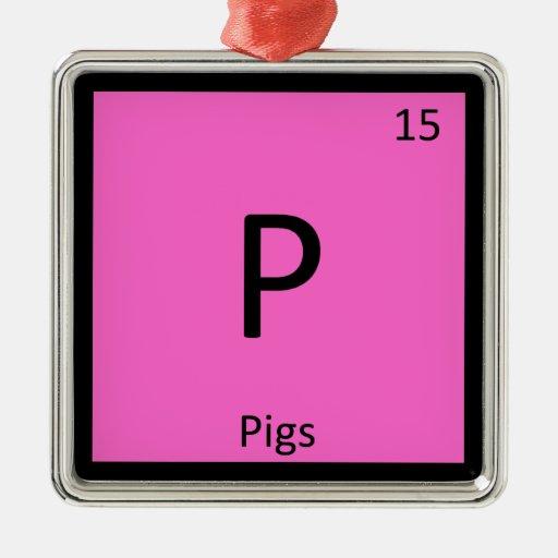 P - Símbolo del elemento de tabla periódica de la  Adorno De Navidad