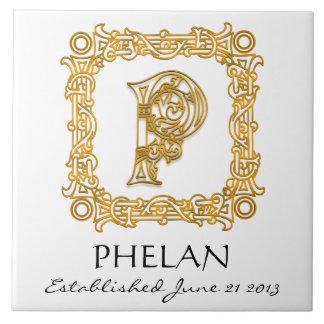 """P"" Surname Wedding Anniversary Day Monogram Tile"