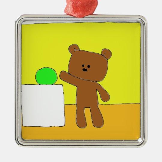 P Teddy Wants A Ball Metal Ornament