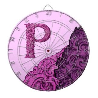 P - The Falck Alphabet (Pink) Dartboard With Darts