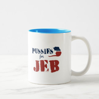 P u s s i e s for Jeb Two-Tone Coffee Mug