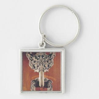 P u shou door knocker with a taotie design key chain