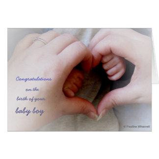 © P Wherrell Baby boy mother baby hands heart Card