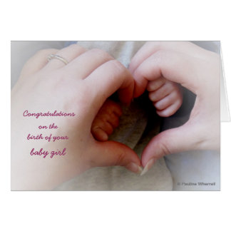 © P Wherrell Baby girl mother baby hands heart Card