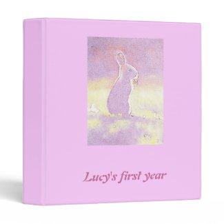 © P Wherrell Baby girl's first year pink rabbit 3 Ring Binders