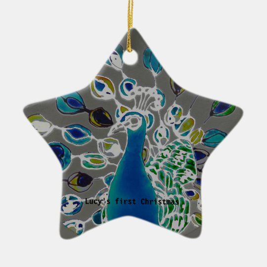 © P Wherrell Baby's first Christmas peacock Ceramic Ornament