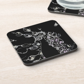 © P Wherrell Contemporary black and white peacock Beverage Coasters
