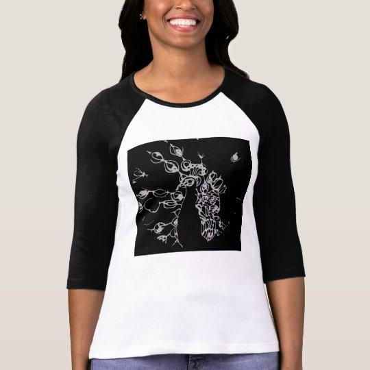 © P Wherrell Contemporary black and white peacock T-Shirt