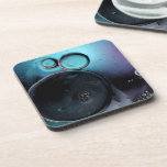 © P Wherrell Contemporary blue circles abstract Beverage Coasters